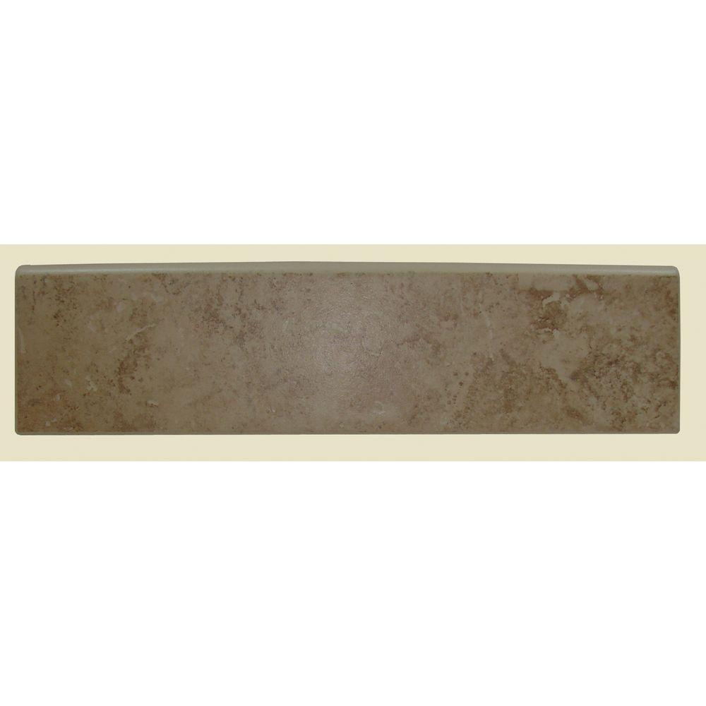 Brixton Mushroom 3 in. x 12 in. Ceramic Surface Bullnose Wall