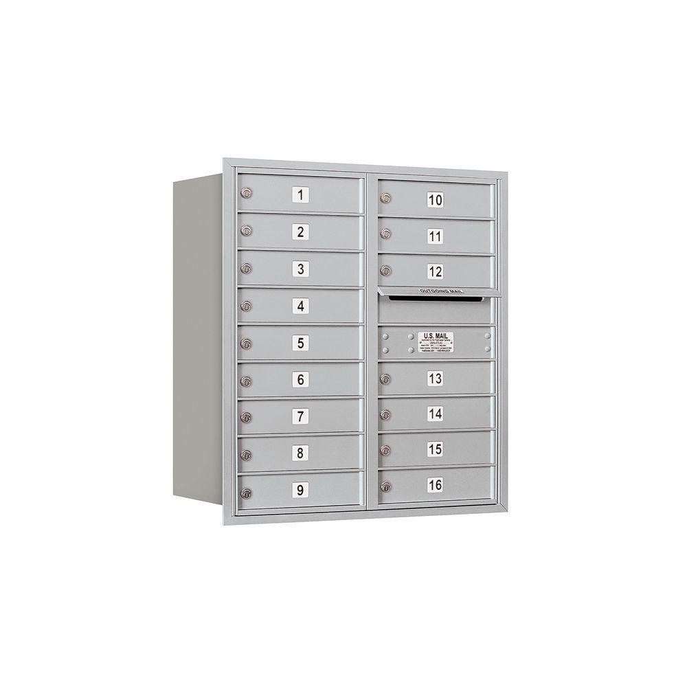 3700 Series 34 in. 9 Door High Unit Aluminum USPS Rear Loading 4C Horizontal Mailbox with 16 MB1 Doors