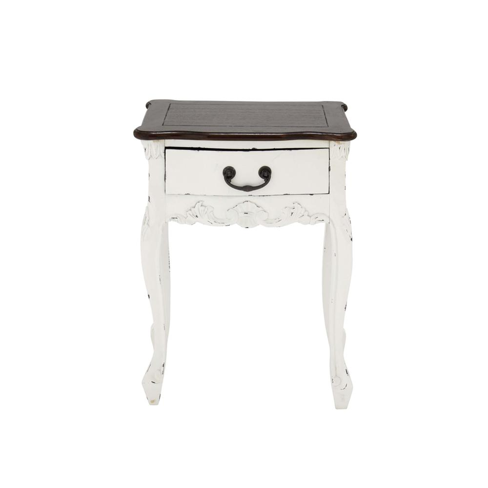 Antique White Carved Mahogany Side Table with 1-Drawer