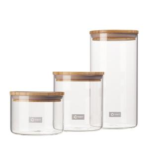 3-Piece Glass and Bamboo Canister Set - C