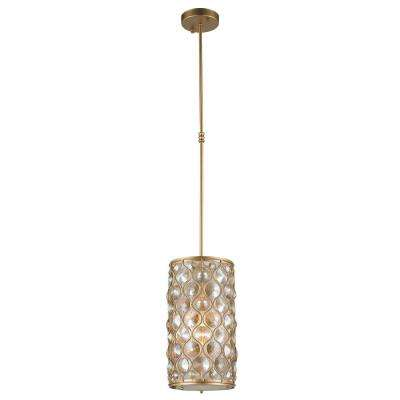Paris 1-Light Matte Gold with Clear and Golden Teak Crystal Pendant