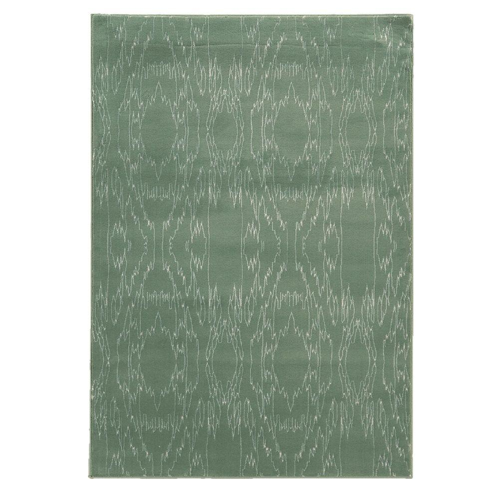 Linon Home Decor Prisma Electric Aqua and White 5 ft. 3 in. x 7 ft. 6 in. Indoor Area Rug