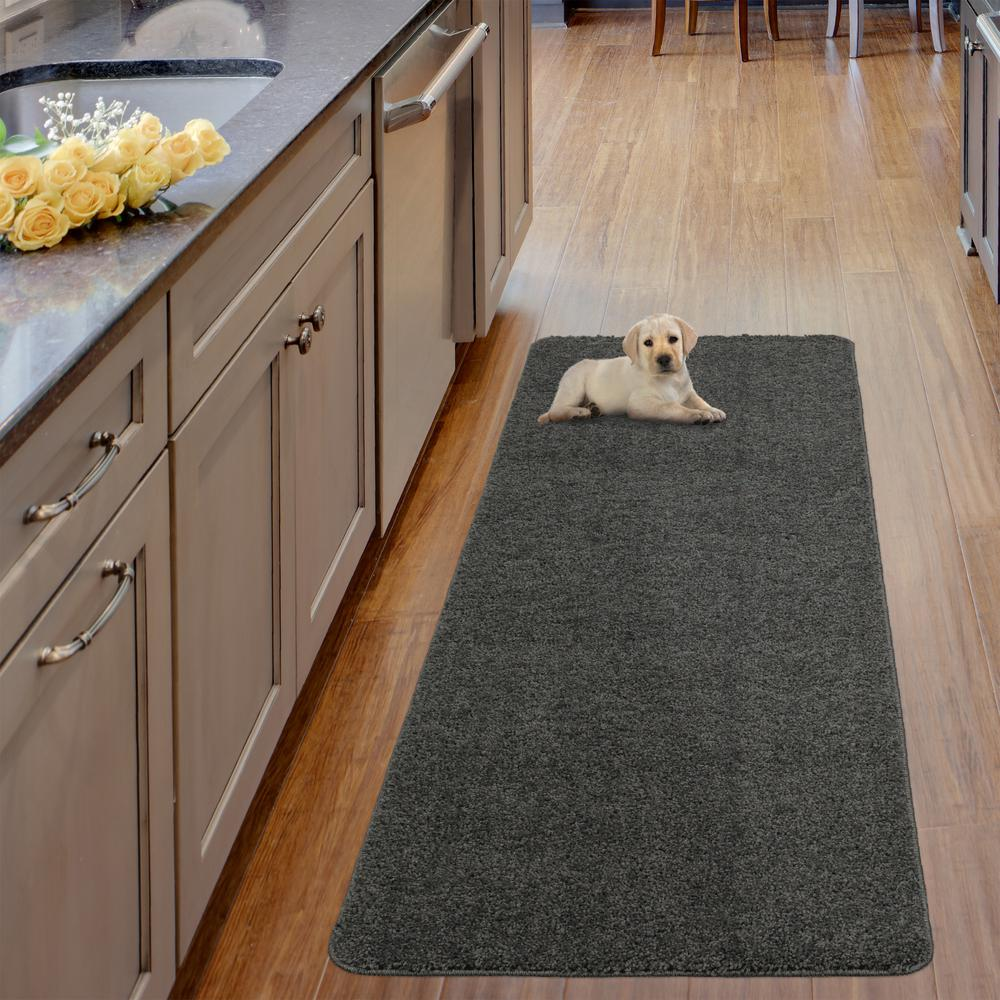 Ottomanson Luxury Shaggy Collection Shag Solid Design Gray 2 ft. x 5 ft. Runner Rug