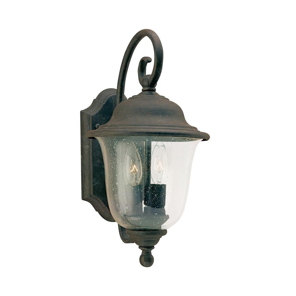 Trafalgar 2-Light Oxidized Bronze Outdoor Wall Mount Lantern