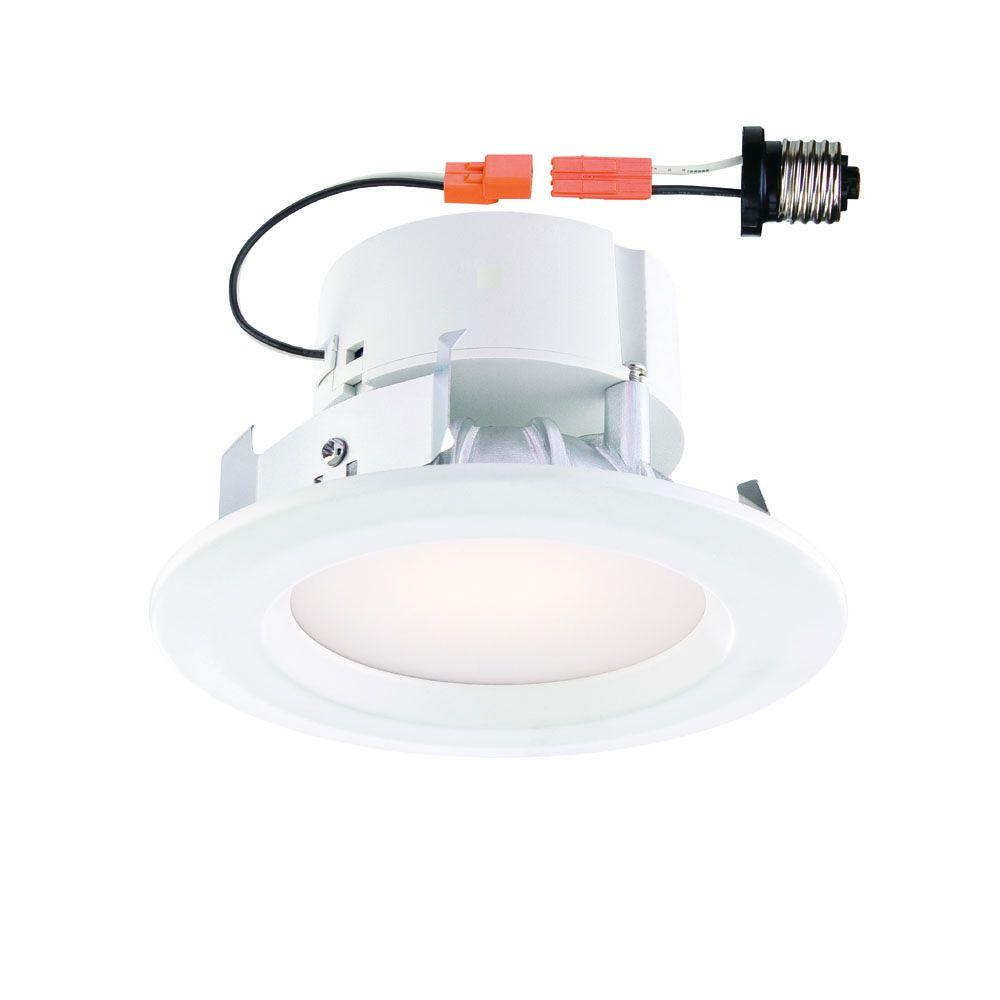 EnviroLite Standard Retrofit 4 in. White Recessed Trim Warm LED ...