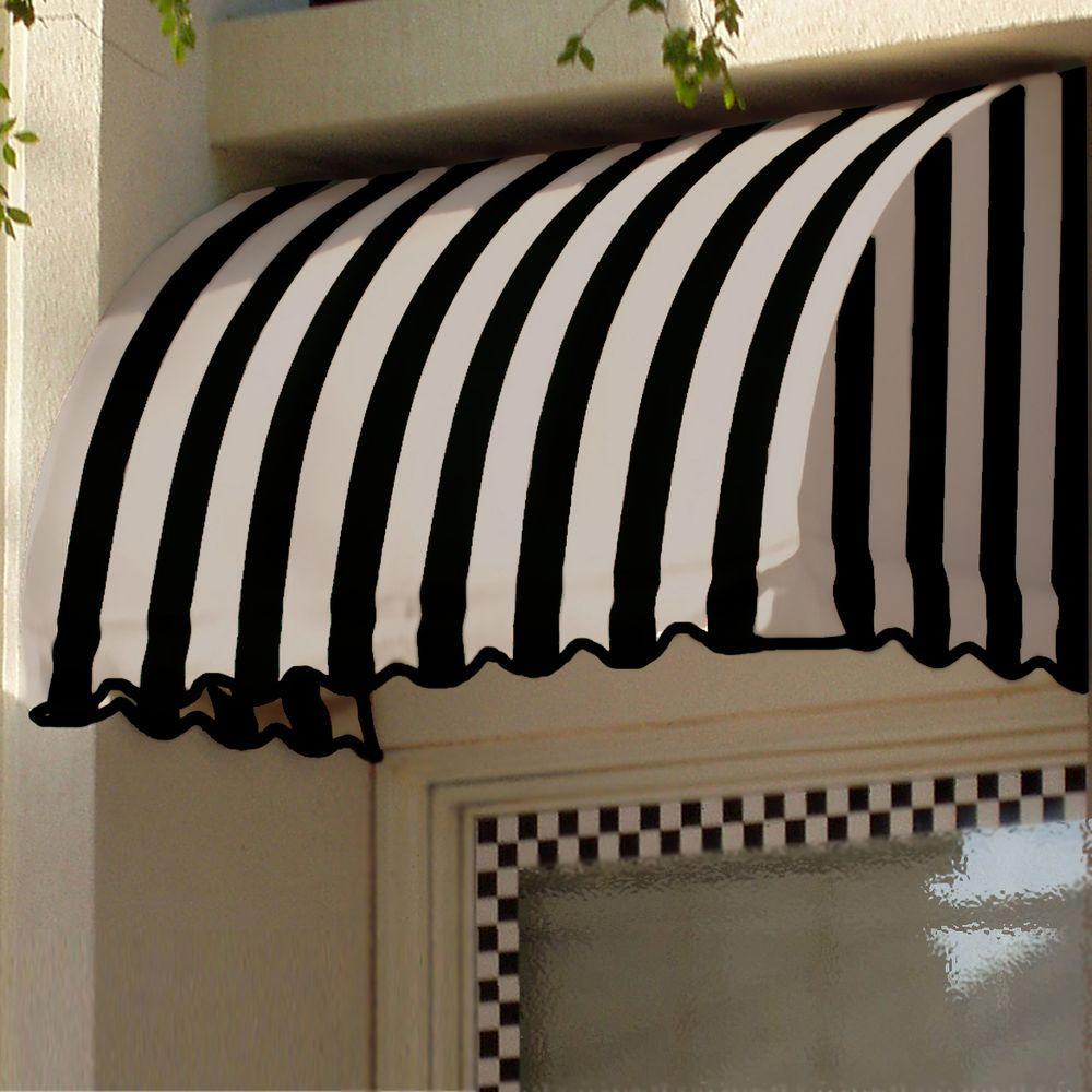 18 ft. Savannah Window/Entry Awning (44 in.H x 36 in.D) in Black/Tan Stripe