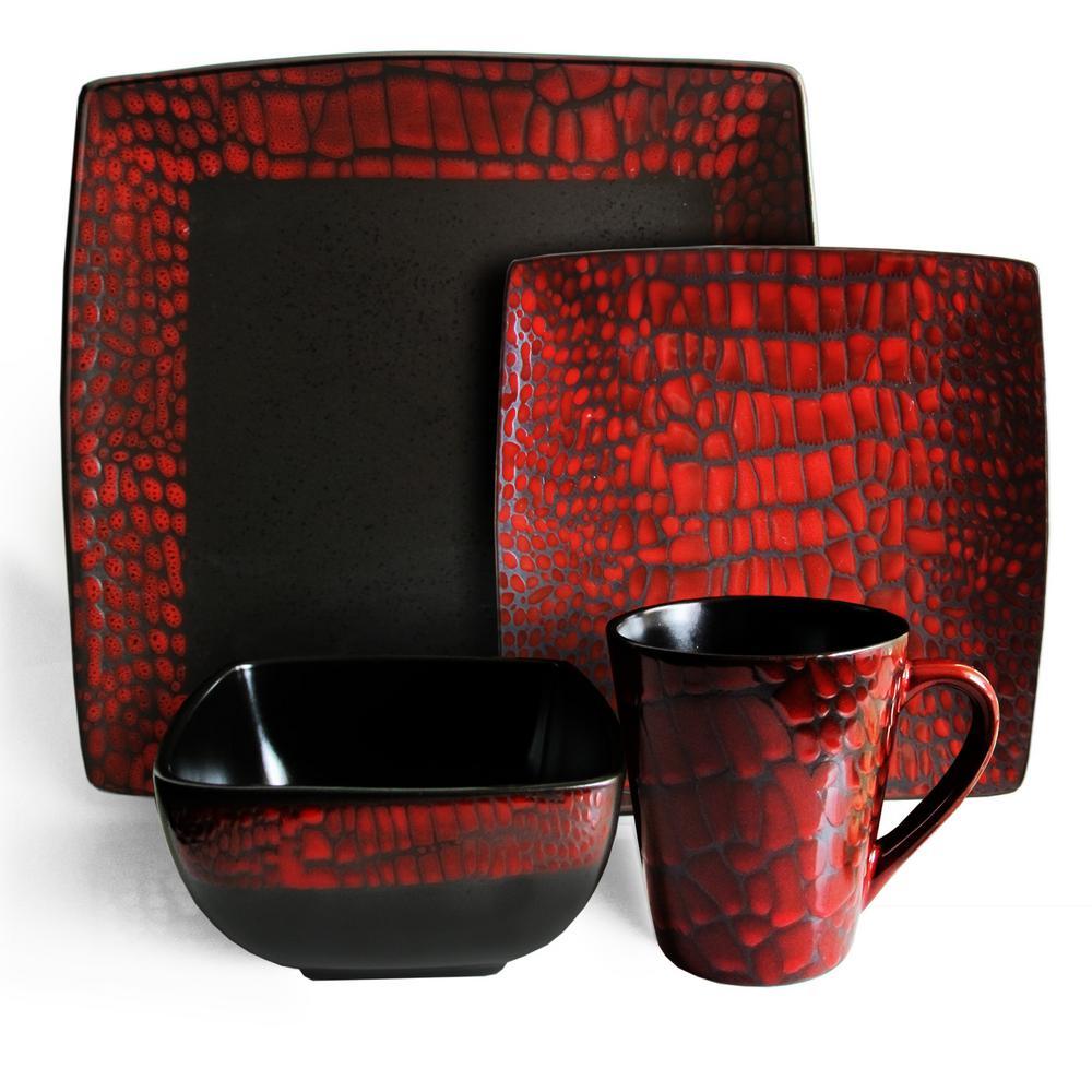 American Atelier Boa 16 Piece Red Dinnerware Set 6043 16rd