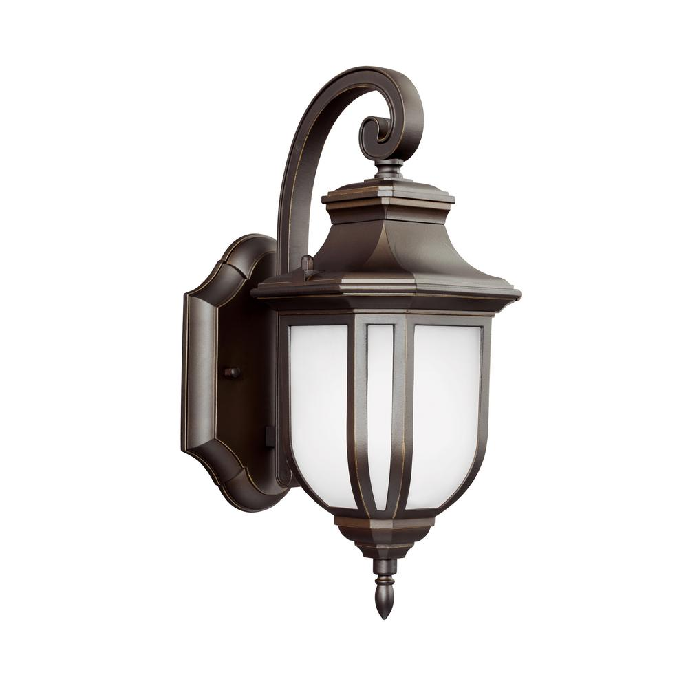 Sea Gull Lighting Childress 1-Light Antique Bronze Outdoor 12.625 in. Wall Lantern Sconce