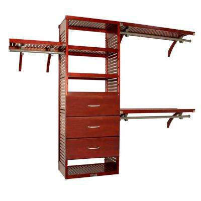 16 in. Deep Deluxe Closet System with 3 Drawers (10 in. Deep) Red Mahogany
