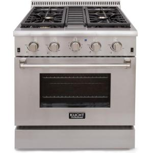 Kucht Pro-Style 30 inch 4.2 cu. ft. Natural Gas Range with Sealed Burners and Convection Oven in Stainless Steel by Kucht
