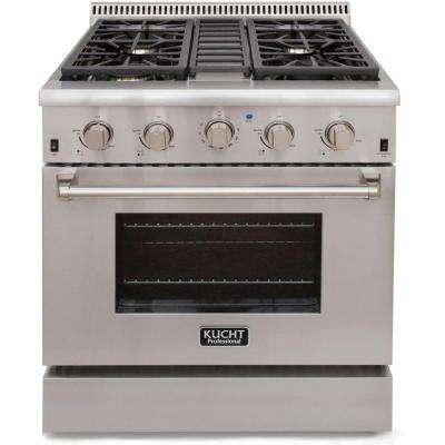 Pro-Style 30 in. 4.2 cu. ft. Natural Gas Range with Sealed Burners and Convection Oven in Stainless Steel