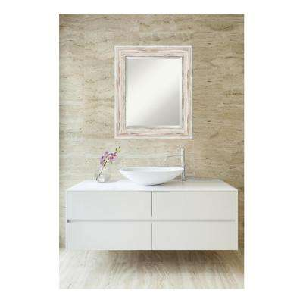 Alexandria White wash Wood 21 in. W x 25 in. H Distressed Bathroom Vanity Mirror