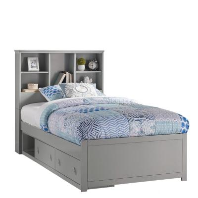 Caspian Gray Twin Bookcase Bed with Storage