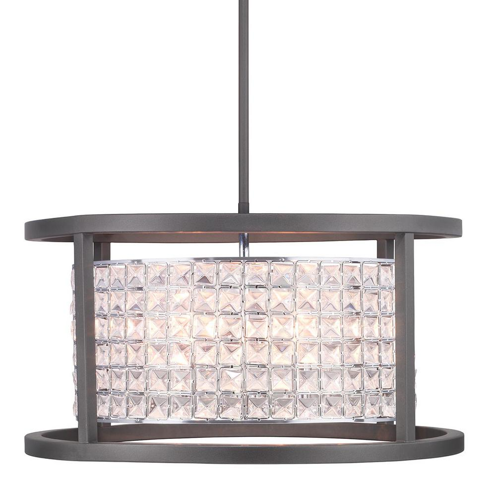 Home Decorators Collection Shimmer Collection 4-Light Graphite Round Pendant with Clear Crystal Shade was $179.0 now $84.97 (53.0% off)