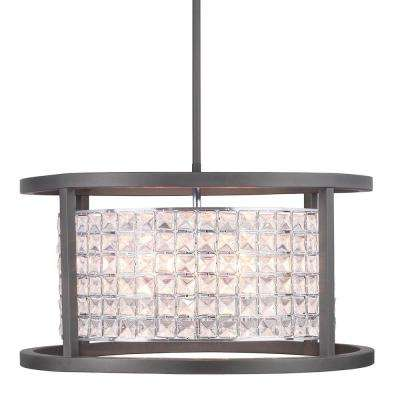 Shimmer Collection 4-Light Graphite Round Pendant with Clear Crystal Shade