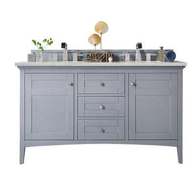 Palisades 60 in. W Double Vanity in Silver Gray with Soild Surface Vanity Top in Arctic Fall with White Basin