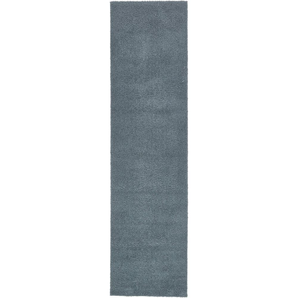 Studio Solid Shag Slate Blue 2' 7 x 10' 0 Runner Rug