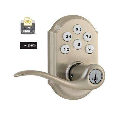 Z-Wave SmartCode Satin Nickel Electronic Tustin Door Lever featuring SmartKey