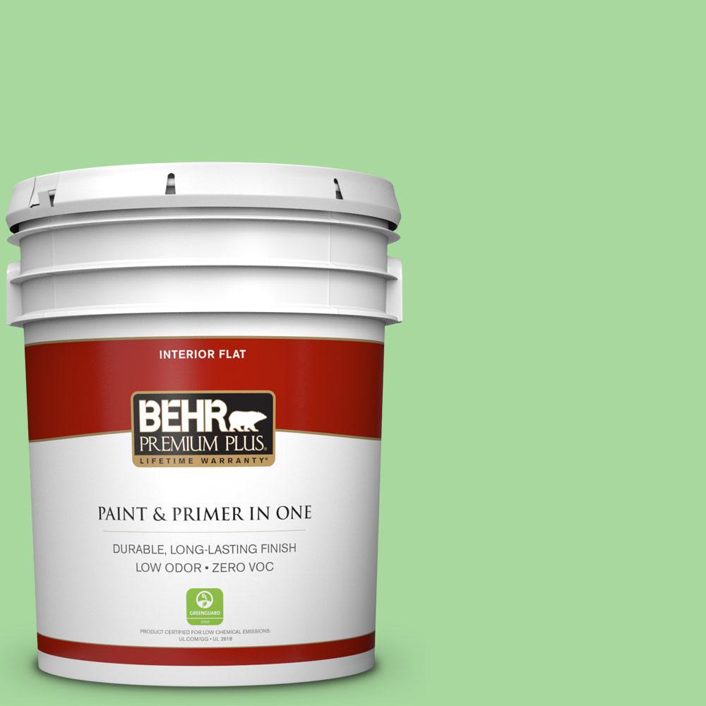 BEHR Premium Plus 5-gal. #440B-4 Cool Aloe Zero VOC Flat Interior Paint