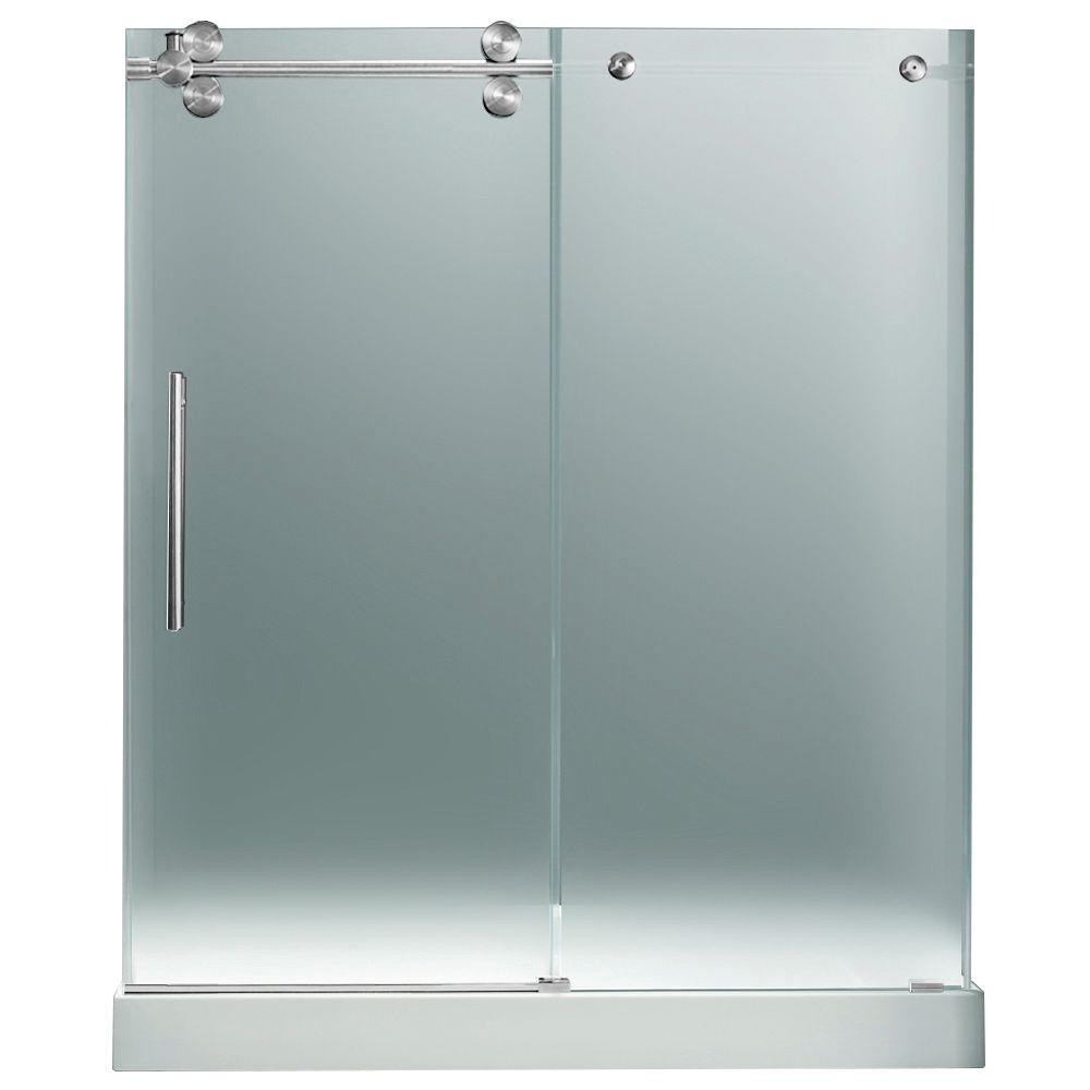 Vigo 59.75 in. x 74 in. Frameless Pivot Shower Door in Chrome with Frosted Glass and White Base