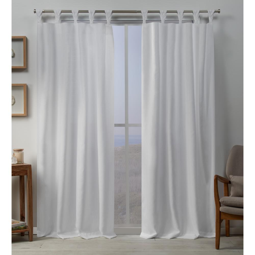 Exclusive Home Curtains Loha 54 in. W x 96 in. L Linen Blend Braided Tab Top Curtain Panel in ...