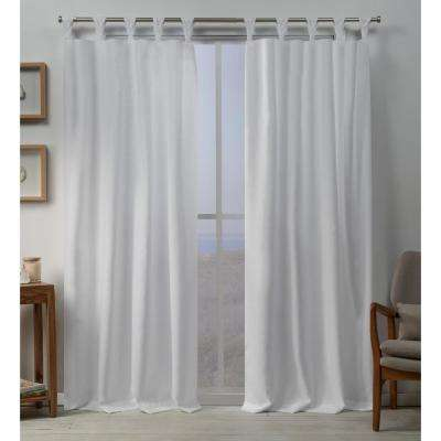 Loha 54 in. W x 96 in. L Linen Blend Braided Tab Top Curtain Panel in Winter White (2 Panels)