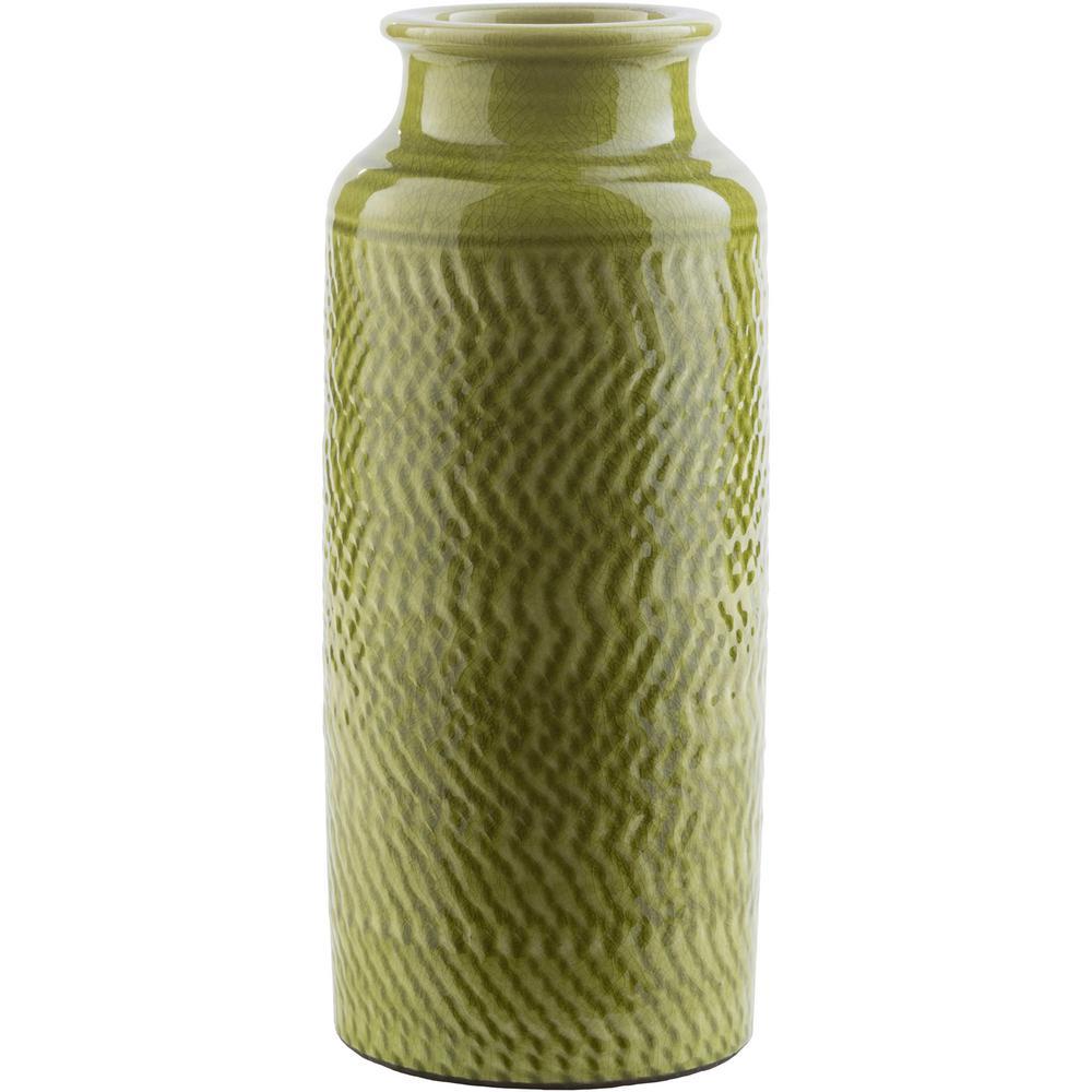 Rismi 13.98 in. Green Ceramic Decorative Vase