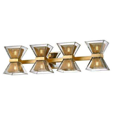 Expression 8-Light Gold Leaf 27.5 in. W LED Bath Light with Clear Glass Shade