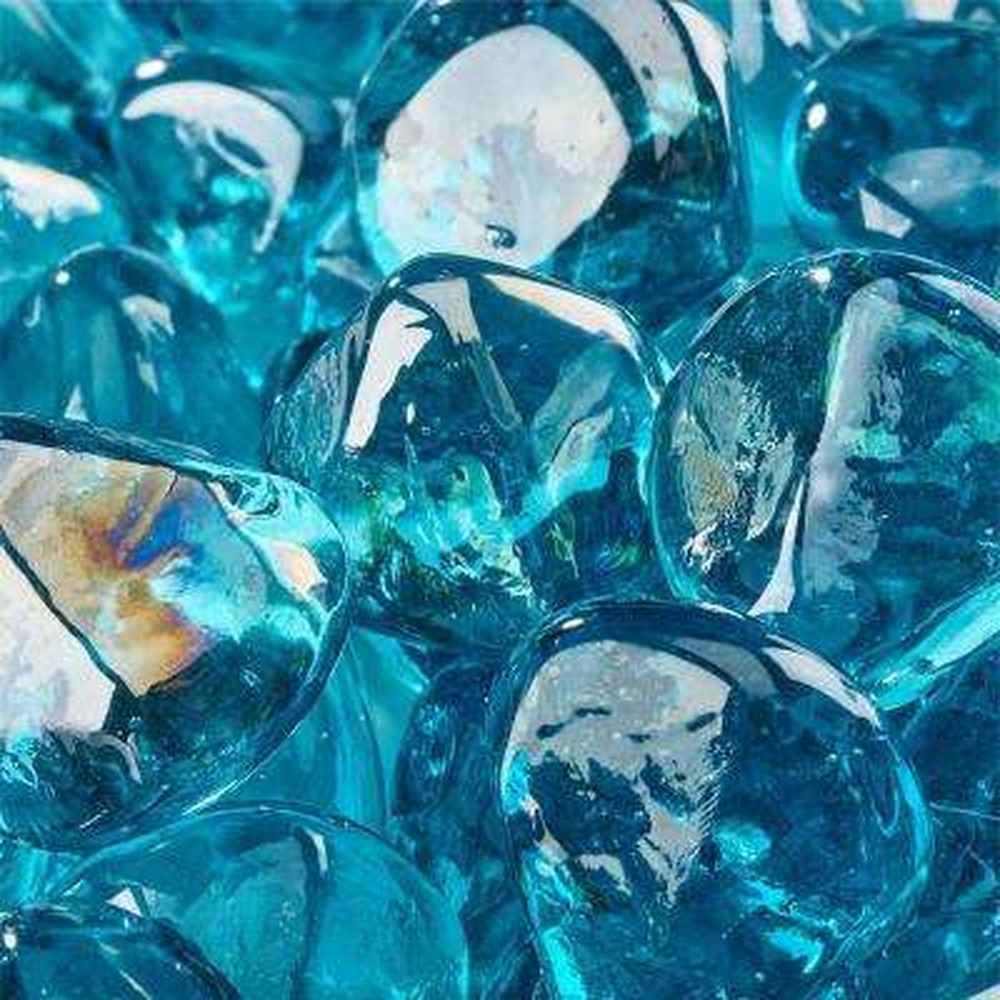 10 lbs. of Tahitian Blue 1 in. Fire Glass Diamonds