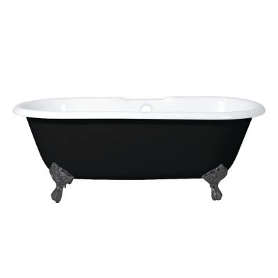 Classic 66 in. Cast Iron Oil Rubbed Bronze Double Ended Clawfoot Bathtub with 7 in. Deck Holes in Black