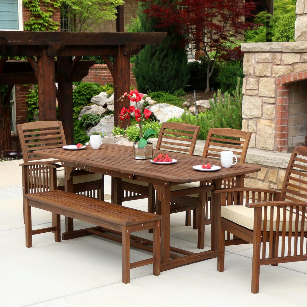 Amazing Walker Edison Furniture Company Boardwalk 6 Piece Dark Brown Acacia Outdoor Dining Set With Cushions Home Interior And Landscaping Fragforummapetitesourisinfo