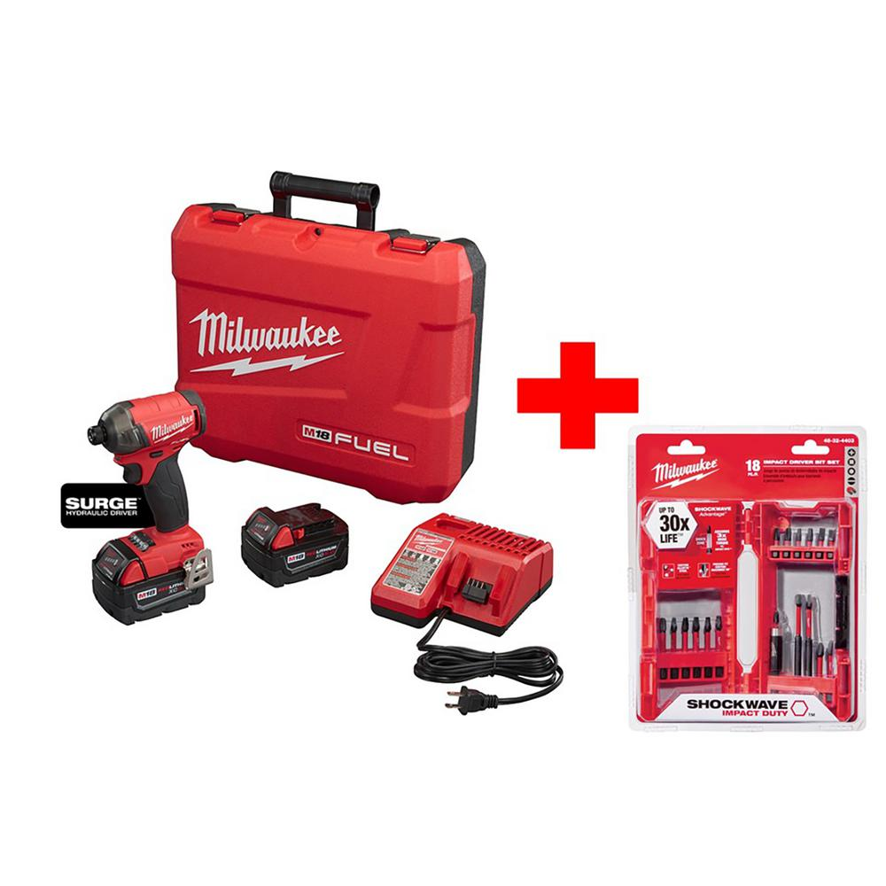 Milwaukee M18 FUEL 18-Volt Lithium-Ion Brushless Cordless 1/4 in. Hex Hydraulic Impact Driver Kit W/ Shockwave Bit Set (18-Piece)
