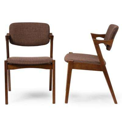 Elegant Brown Fabric Upholstered Dining Chairs (Set of 2)