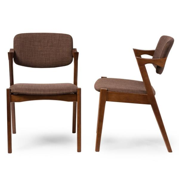 Baxton Studio Elegant Brown Fabric Upholstered Dining Chairs (Set of 2)