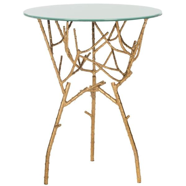 Safavieh Tara Gold and White Glass Top End Table