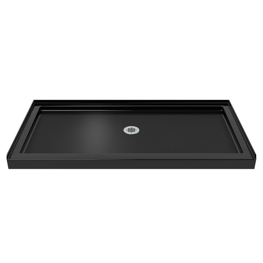 SlimLine 34 in. D x 60 in. W Single Threshold Shower Base in Black Color with Center Drain