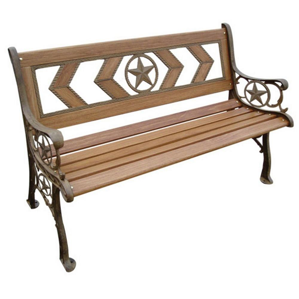 Parkland Heritage Texas 49-1/2 in. Natural Wood Tone Patio Park Bench