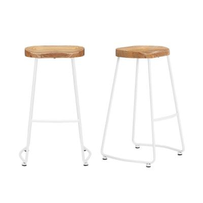 StyleWell White Metal Backless Bar Stool with Wood Seat (Set of 2) (18.5 in. W x 29.52 in. H)
