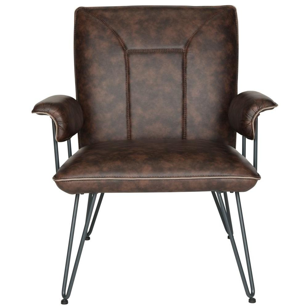 Safavieh Johannes Antique Brown Leather Arm Chair - Safavieh Johannes Antique Brown Leather Arm Chair-FOX1700A - The