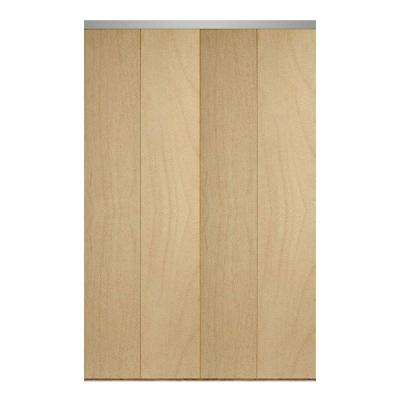 Smooth Flush Solid Core Primed MDF Interior Closet Bi Fold Door With Chrome  Trim