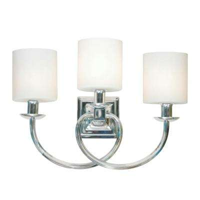 Mila 3-Light Polished Chrome Vanity Light