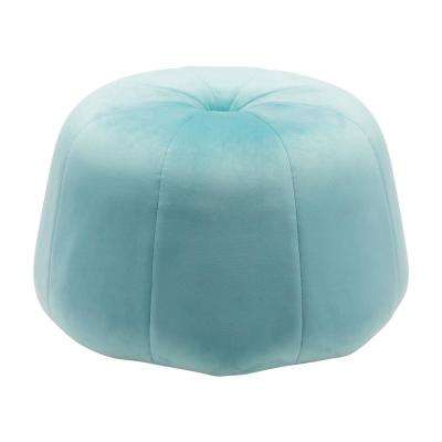 Dulcet Light Blue Velvet Accent Ottoman