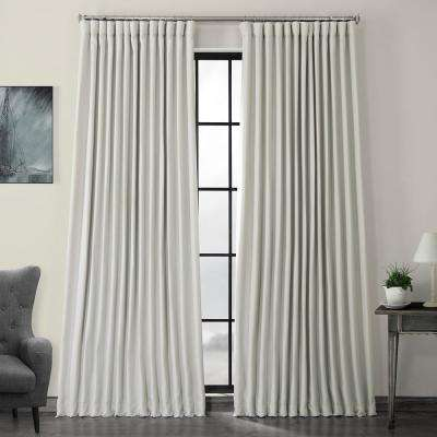 Oyster White Faux Linen Extra Wide Blackout Curtain - 100 in. W x 96 in. L