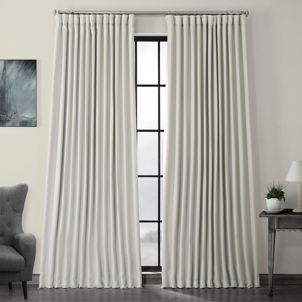 Exclusive Fabrics & Furnishings Oyster White Faux Linen Extra Wide Blackout Curtain - 100 in. W x 108 in. L