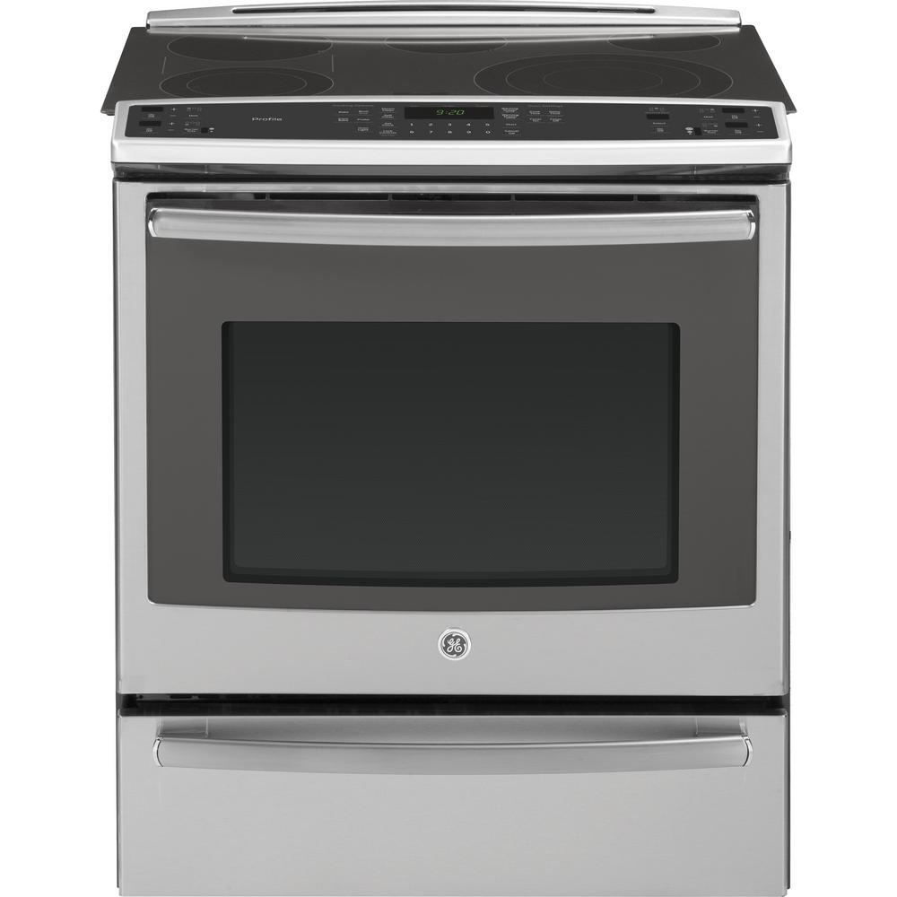 GE Profile 5.3 cu. ft. Slide-In Electric Range with Self-Cleaning Convection Oven in Stainless Steel