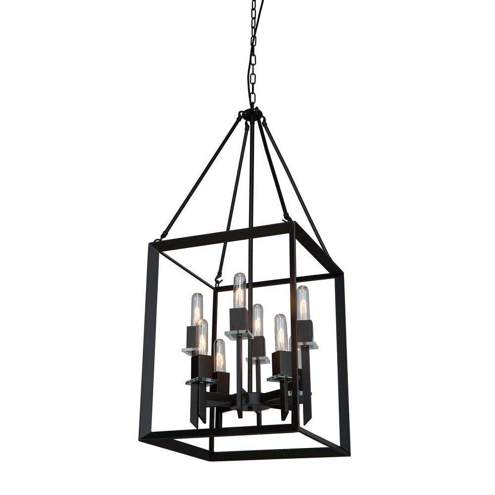 ARTCRAFT Vineyard Monte 8-Light Black Chandelier The Vineyard collection features a simple and sophisticated design with square tubing and glass bobech. Comes in a matte black finish (8 light chandelier)