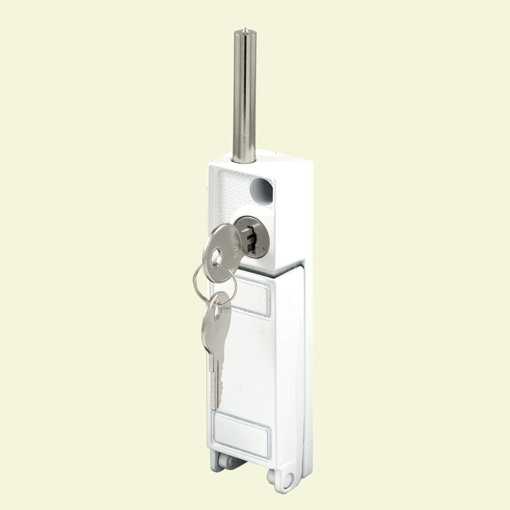 Prime Line White Patio Door Keyed Bolt Lock