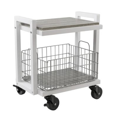 2-Tier Steel Cart System Narrow in White