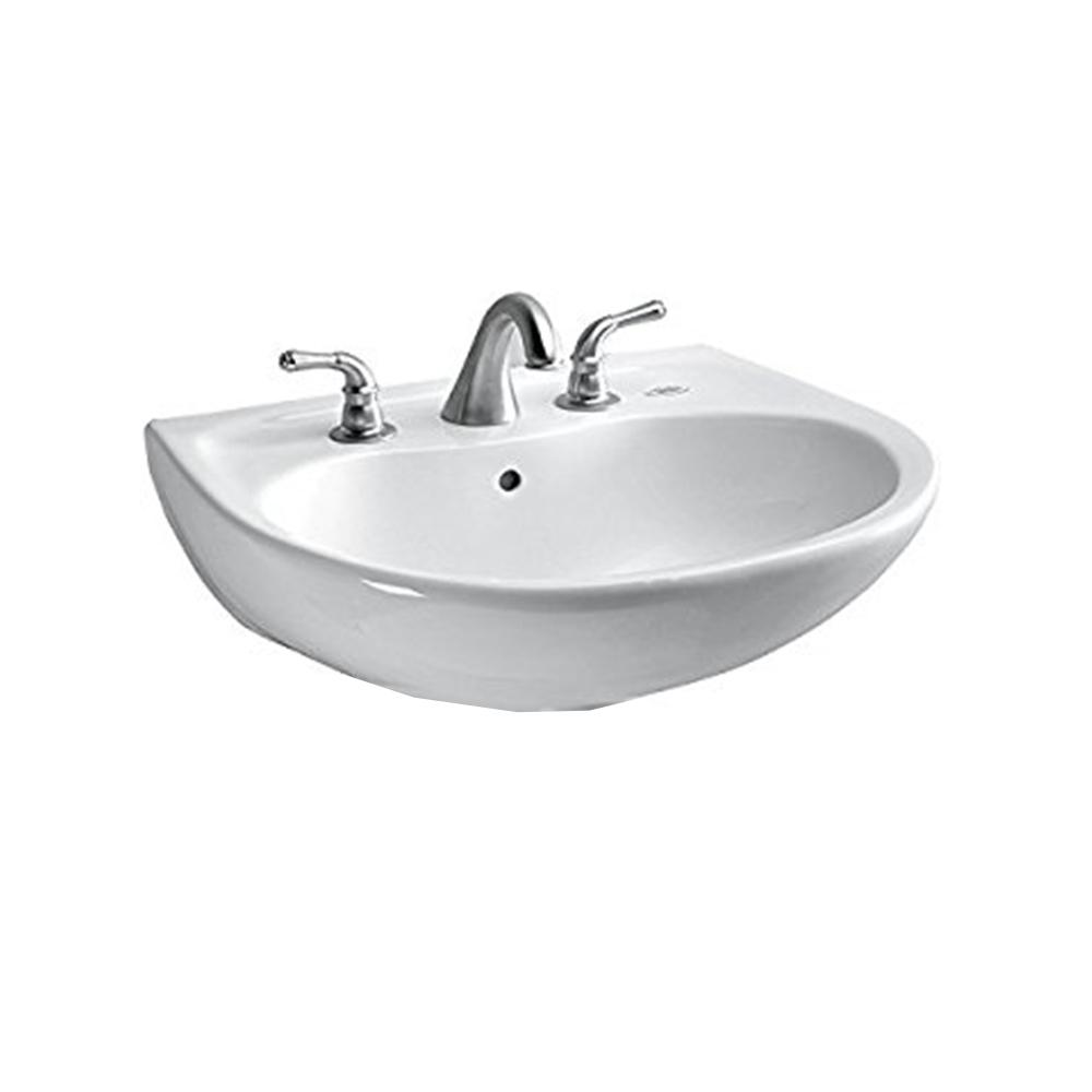 TOTO Supreme 23 in. Wall-Mount Bathroom Sink with 8 in. Faucet Holes in Cotton White