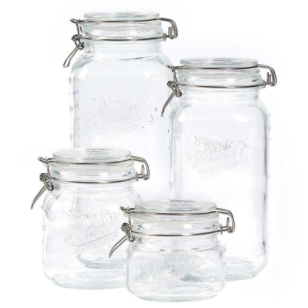 Mason Craft and More Mason Craft and More 4-Piece Glass Jar Set, Clear Glass Jars